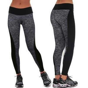 Pants - Black Grey Colorblock Ankle Length Leggings NEW
